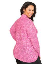 Ashley Stewart Pink Metallic Mock Neck Sweater