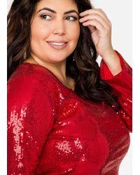Ashley Stewart Red Long Sleeve Sequin Crop Top