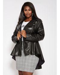 91d358c3dacd5 Lyst - Ashley Stewart Plus Size Hi Lo Peplum Moto Jacket in Black