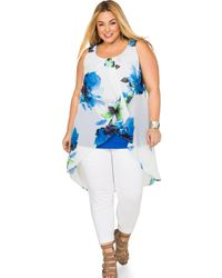 Ashley Stewart - Blue Watercolor Floral Overlay Tank - Lyst
