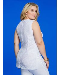 Ashley Stewart | White Piped Lace Overlay Sleeveless Top | Lyst