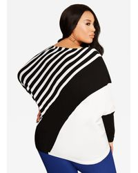 Ashley Stewart - Black Striped Dolman Sweater - Lyst