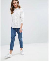 Vila - White Ruffle Detail Shirt - Lyst