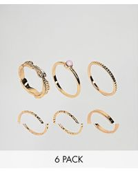 ASOS - Metallic Pack Of 6 Feather Band And Faux Rose Quartz Rings - Lyst