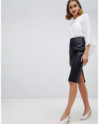 abb9766b45 Warehouse Faux Leather Seamed Pencil Skirt In Black in Black - Lyst