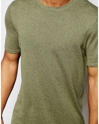 ASOS - Green Longline Knitted T-shirt In Khaki for Men - Lyst