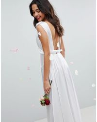 ASOS - White Deep Plunge Soft Wedding Maxi Dress With Ruching Detail - Lyst