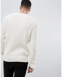AllSaints - Natural Waffle Jumper In Cream for Men - Lyst