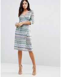 Traffic People - Blue Striped 3/4 Sleeve Dress - Lyst