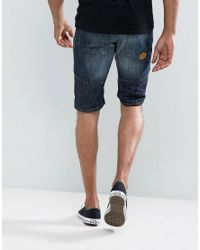 Threadbare - Blue Cropped Denim Shorts for Men - Lyst