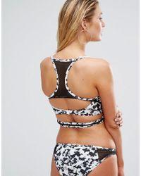 ASOS - Multicolor Fuller Bust Mono Camo Print Fishnet Longline Bikini Top Dd-g - Lyst
