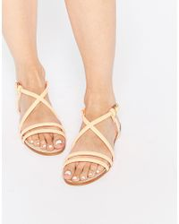 Miista - Multicolor Jo Nude Strappy Leather Flat Sandals - Lyst