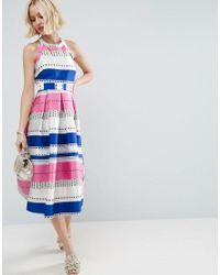 ASOS - Blue Spot Pinny Jacquard Prom Dress - Lyst