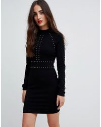 7208476a6c6a Karen Millen Studded Knit Bodycon Dress in Black - Lyst