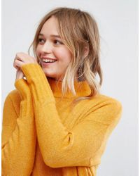 Monki - Yellow High Neck Seam Detail Jumper - Lyst
