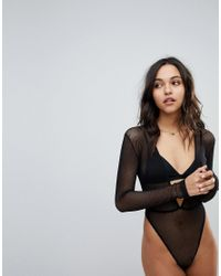 ASOS - Black Asos Bambi Fishnet Long Sleeve High Leg Bodysuit - Lyst