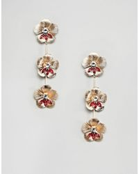ASOS - Metallic Earrings In Floral Drop Design With Crystals In Gold - Lyst