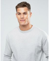SELECTED | Gray Sweatshirt With Drop Shoulder Detail for Men | Lyst