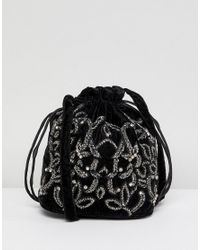 Lyst - Park Lane Embroidered Shoulder Bag in Black df1aee25ff75f