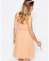 Vila - Pink One Shoulder Sash Dress - Lyst