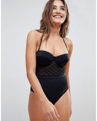 ASOS - Black Design Diamond Mesh Cupped Swimsuit - Lyst