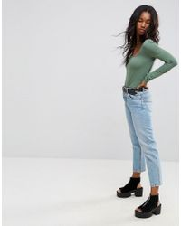 ASOS - Green T-shirt With Square Neck And Long Sleeves - Lyst
