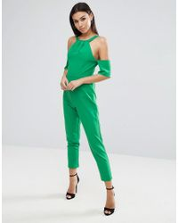ASOS - Green Jumpsuit With Cold Shoulder Detail - Lyst