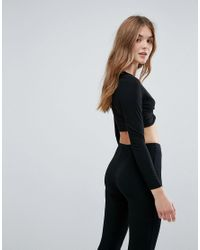 New Look - Black Gathered Crop Top - Lyst