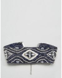 ASOS - Blue Embellished Scarf Print Choker Necklace - Lyst