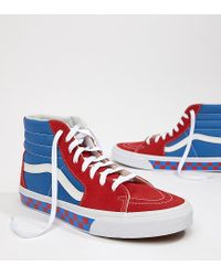 dfaf1a5898ca34 Vans Factory Pack Sk8-hi Checkerboard Trainers In Blue in Blue for ...