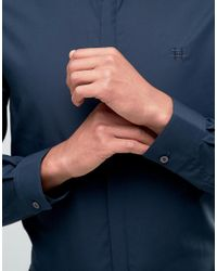 Hart Hollywood - Blue By Nick Hart Slim Smart Shirt With Curve Collar Shirt for Men - Lyst