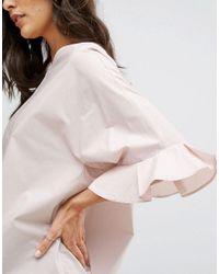 Mango - Pink 3/4 Frill Sleeve Blouse - Lyst