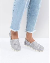 TOMS Silver Crochet Lace Shoes in Metallic - Lyst b54eb500081