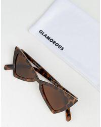 Glamorous - Brown Tortoiseshell Slim Cat Eye Sunglasses - Lyst