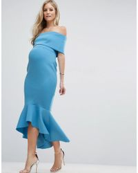 ASOS - Blue Premium Deep Fold Peplum Midi Dress - Lyst
