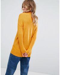 Monki | Yellow High Neck Seam Detail Jumper | Lyst