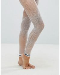 ASOS - Stripe Cuff Footless Fishnet Tights In White - Lyst