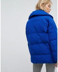 Mango - Blue Padded Oversized Jacket - Lyst