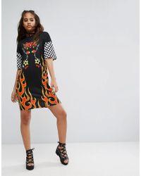 Jaded London - Multicolor Oversized T-shirt Dress In Check Logo Print - Lyst