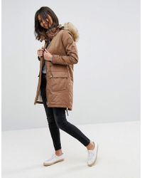 Esprit - Natural Faux Fur Hood Parka Jacket - Lyst