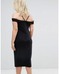ASOS - Black Strappy Keyhole Bardot Midi Dress - Lyst
