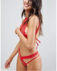 ASOS DESIGN - Red Asos Marina Delicate Lace Tie Bralet - Lyst
