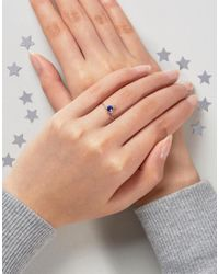 ASOS - Blue Rose Gold Plated Sterling Silver Birth Stone September Ring - Lyst