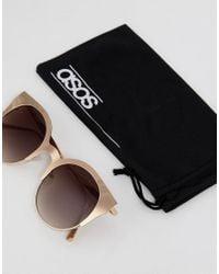ASOS - Metallic Half Kitten Cat Eye Metal Sunglasses In Gold - Lyst