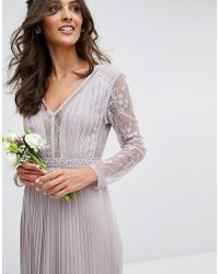TFNC London - Gray Wedding Pleated Midi Dress With Long Sleeves And Lace Inserts With Embellished Waist - Lyst