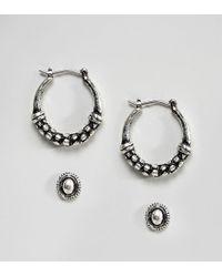 ASOS - Metallic Pack Of 2 Textured Stud And Hoop Earrings - Lyst