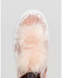 Steve Madden - Pink Breeze Velvet Plimsolls With Pom - Lyst