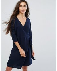 B.Young - Blue Wrap Front Dress - Lyst