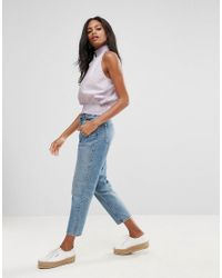 ASOS - Purple Cotton Shell Top With Shirring Detail - Lyst