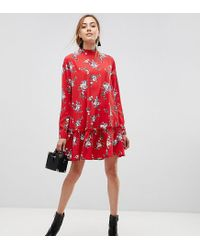 49f506af97be ASOS - Asos Design Tall Smock Mini Dress With Pep Hem In Red Floral - Lyst